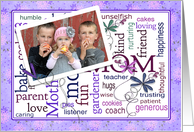 Mother's Day photo card from all of us - word art and flowers card