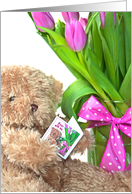 Belated Birthday teddy bear with pink tulip bouquet and polka dot bow card