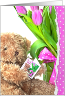 Birthday Party invitation - teddy bear with tulips and polka dot bow card