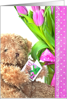 Birthday for Nana - teddy bear with pink tulip bouquet card