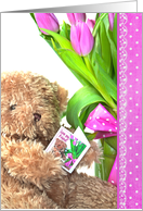 Birthday for Friend, brown teddy bear with pink tulip bouquet card
