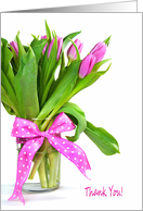 Thank You pink tulip bouquet with polka dot bow card