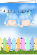 Twin Boy Birth Annoucement - baby boys hanging on clothesline card