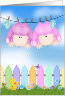 Twin Girls Birth Annoucement - baby girls hanging on clothesline card