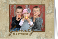Father's Day photo card with old world map background card