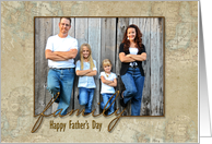Father's Day photo card from kids with old world map framing card