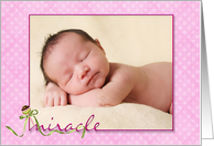 Baby Girl Birth Announcement pink polka dot photo card
