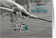 Father's Day, man holding a fishing pole in selective color card
