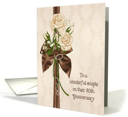 30th Wedding Anniversary rose bouquet on damask-like background card