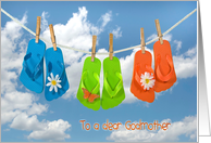 Godmother's Birthday, flip flops on clothesline with daisies card