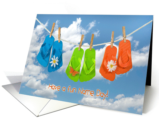 Name Day - flip-flops on clothesline with daisies card (1115056)