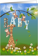 new Nephew congratulations giraffe in grass with monkeys card