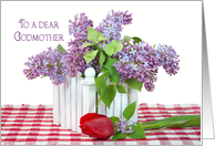 Godmother's Birthday-lilac bouquet with single red tulip card