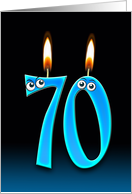 70th Birthday humor with candles and eyeballs card