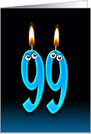 99th Birthday humor with candles and eyeballs card