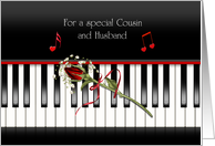 Cousins and husband anniversary, red rose on piano keys card
