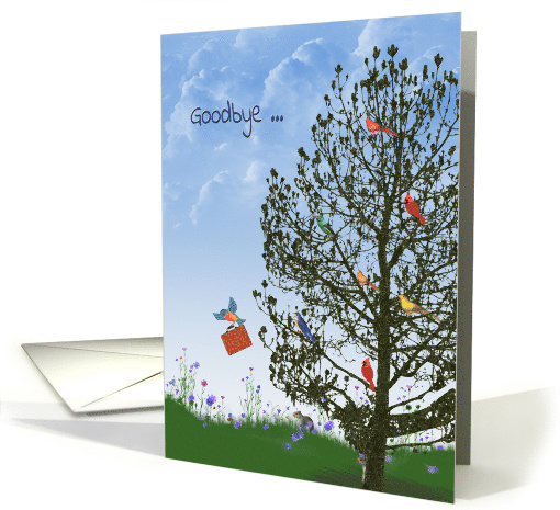 Goodbye from employees birds in tree with squirrel card (1176678)