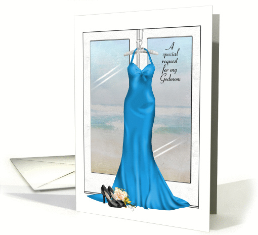 Bridesmaid request for Godmom-blue gown with shoes and bouquet card