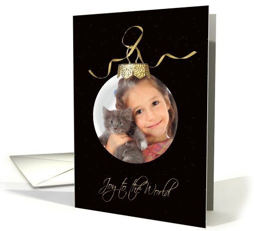 Joy to the World ornament photo card on black with stars card