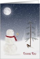 Christmas Thank You for gift-snowman giving a gold star to pine tree card