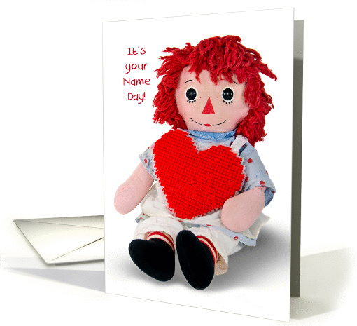 Name Day-old rag doll with red heart isolated on white card (1229010)