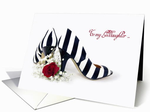 Bridesmaid request for Goddaughter-striped pumps with red rose card