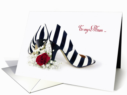Matron of Honour request for Mum-striped pumps with red rose card