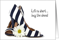 Birthday for Friend, black and white striped pumps with daisy card