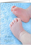Congratulations on New Nephew, baby feet on blue blanket card
