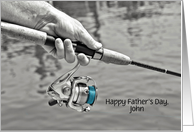 Father's Day man fishing with rod and reel with customized name card