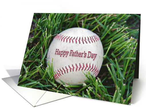 Father's Day close up of a used baseball in grass card (1290438)