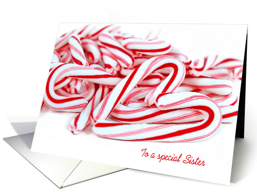 Sister's Christmas-pile of candy canes with heart card (1308710)