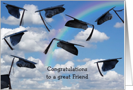 Friend's Graduation-graduation hats in sky with rainbow card