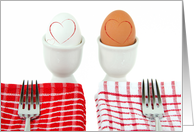 wedding anniversary, white and brown eggs in cups with forks card