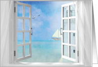 open window with ocean view of lighthouse and sailboat card