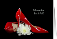 walk me down the aisle invitation-red pumps with pearls and flower card
