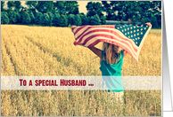 Military thank you to Husband-girl with American flag in a field card