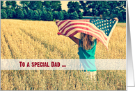 Military thank you to Dad-girl with American flag in a field card