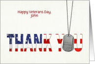 Veterans Day with customize name, dog tags with flag thank you card
