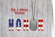 Veteran thank you military dog tags with flag font on wood card