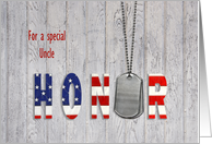 Uncle thank you-military dog tags with flag font on wood card