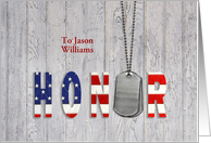 Customized name thank you-military dog tags with flag font on wood card