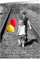Friendship little girls on railroad tracks with balloons card