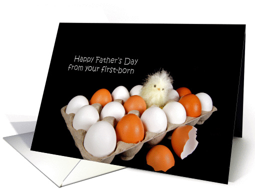 Father's Day from first born with baby chick and eggs card (187027)