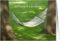 Retirement hammock between two oak trees card