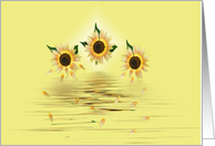 Thinking of You sunflowers with falling petals on water card