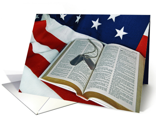 4th of July-military dog tags on open Bible on flag card (373126)