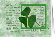 St. Patrick's Day shamrock in green frame with rainbow card