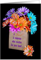 For Friend, a colorful daisy bouquet in brown bag card