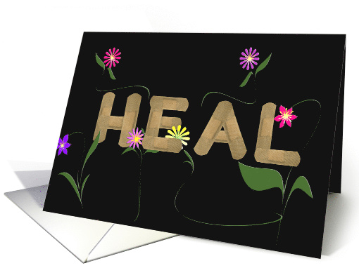 Get Well Soon bandage with colorful flowers on black card (433553)